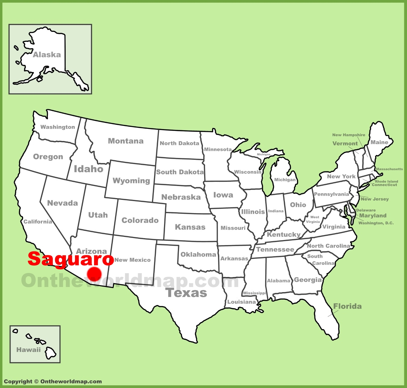 Saguaro National Park location on the U.S. Map
