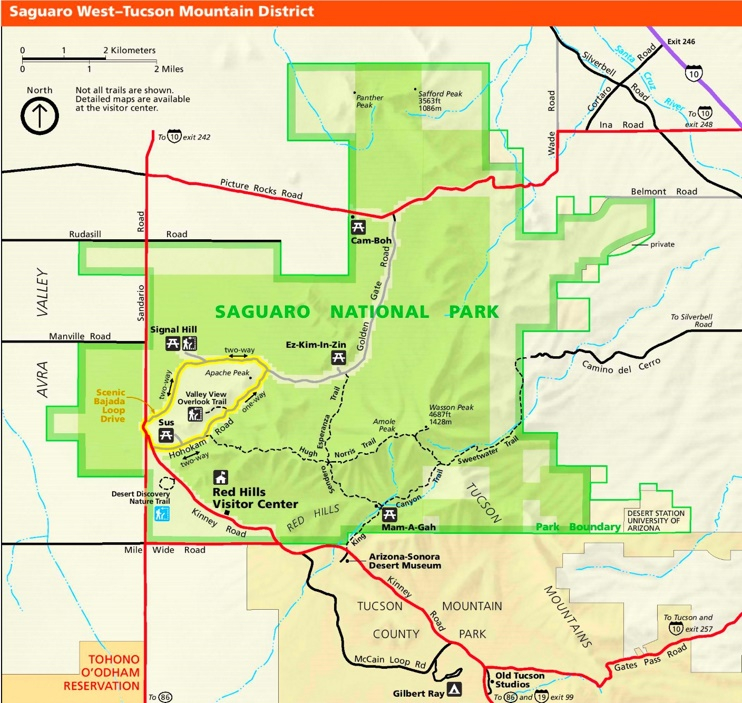 Saguaro National Park West Tucson Mountains tourist map