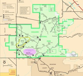 Saguaro National Park West Tucson Mountains trail map