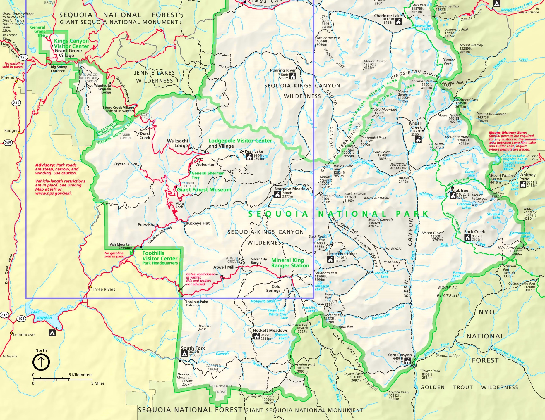 Sequoia National Park tourist map