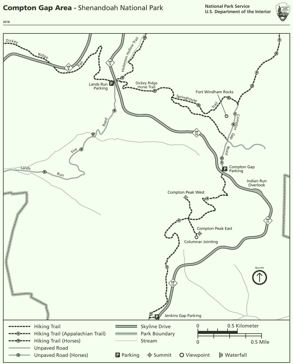 Shenandoah Compton Gap Area trail map