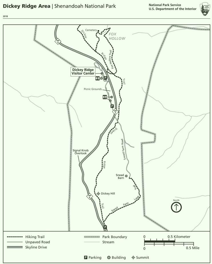 Shenandoah Dickey Ridge Area trail map