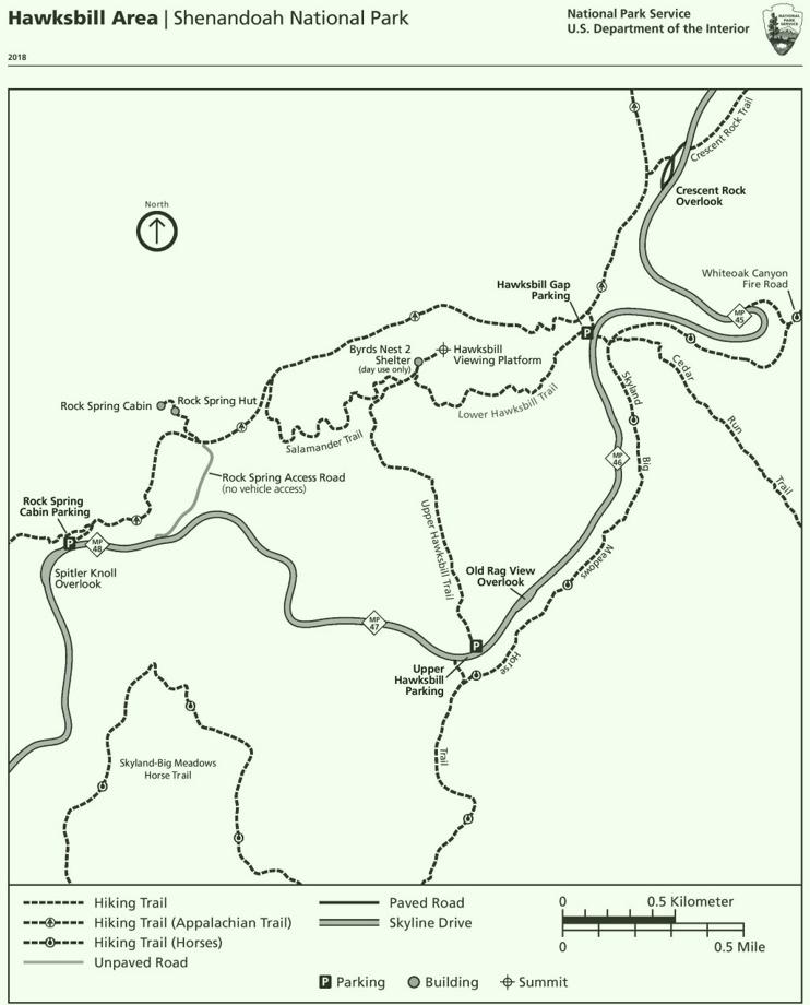 Shenandoah Hawksbill Area trail map