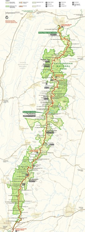 Large detailed map of Shenandoah National Park