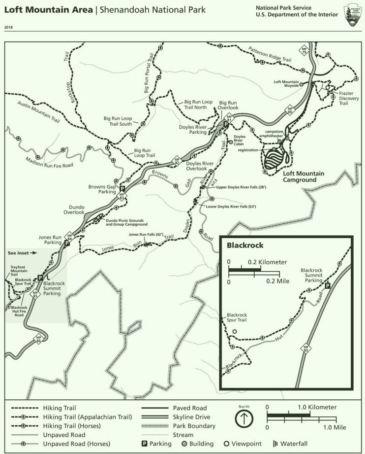 Shenandoah Loft Mountain Area trail map