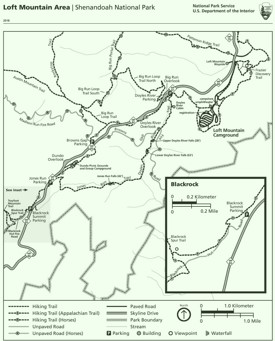 Shenandoah Loft Mountain Area trail map