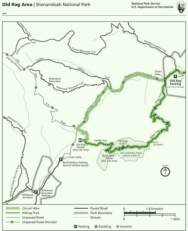 Shenandoah Old Rag Area trail map