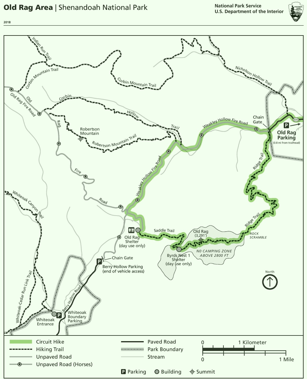 Shenandoah Old Rag Area Trail Map - Old rag map