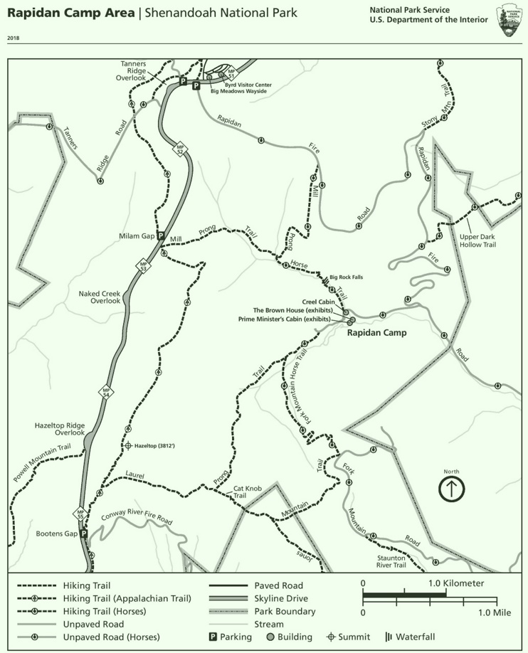 Shenandoah Rapidan Camp Area trail map