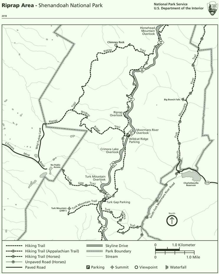 Shenandoah Riprap Area trail map