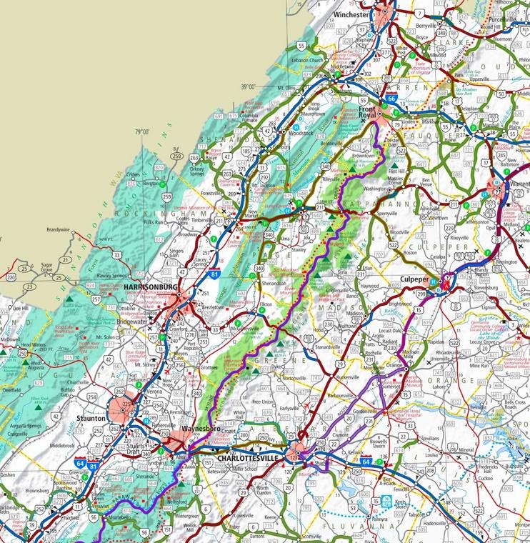 Shenandoah National Park area road map