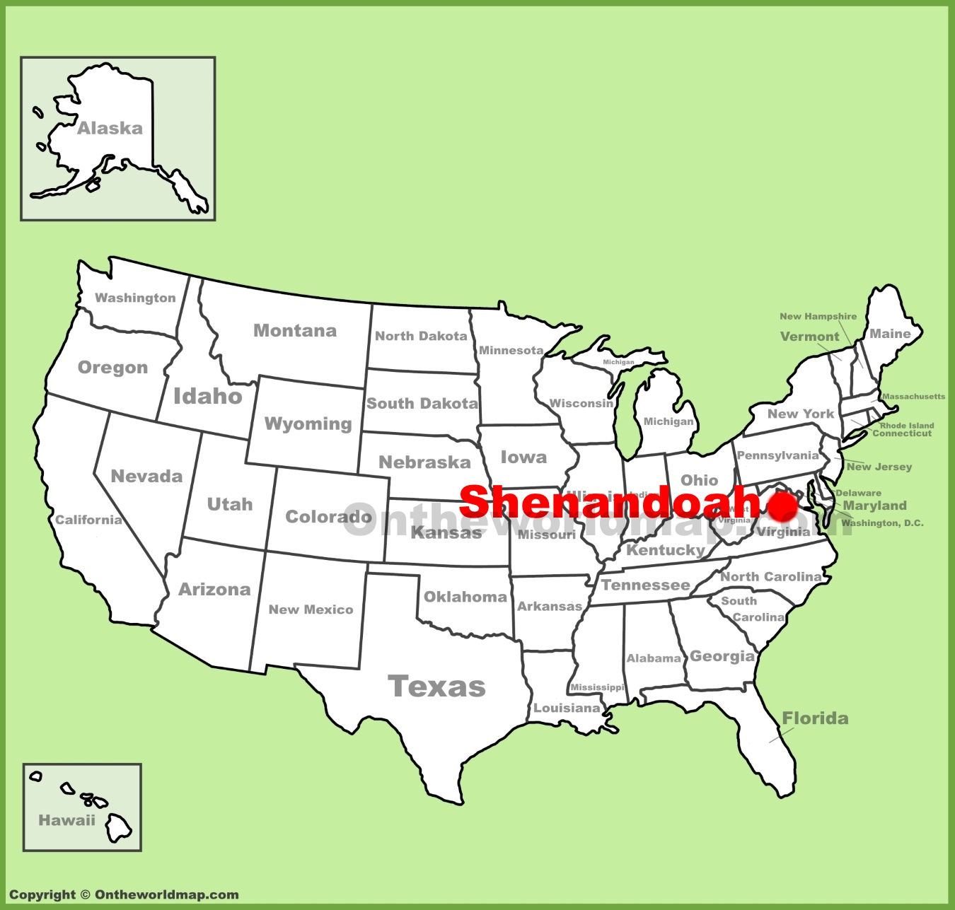 Shenandoah National Park location on the US Map