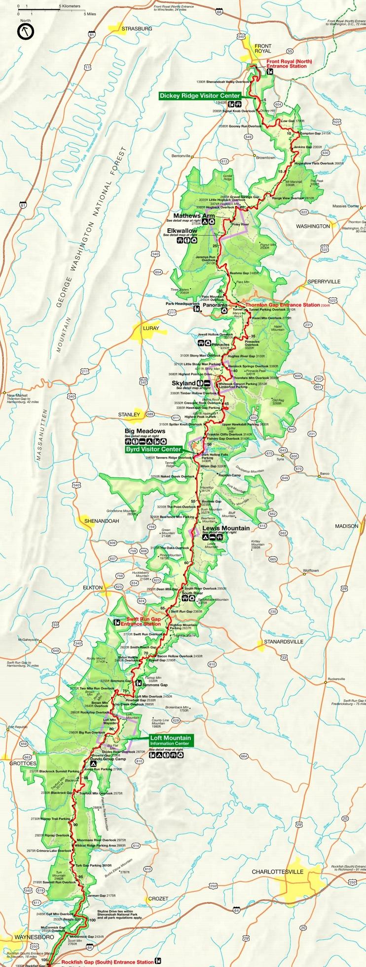 Shenandoah National Park tourist map
