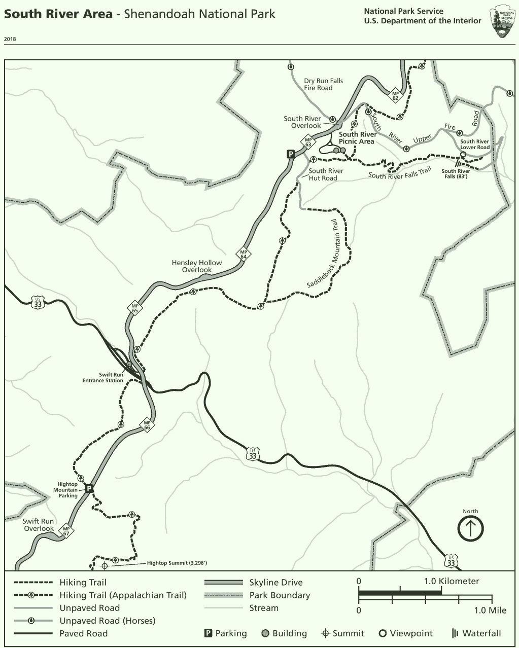 Shenandoah South River Area trail map