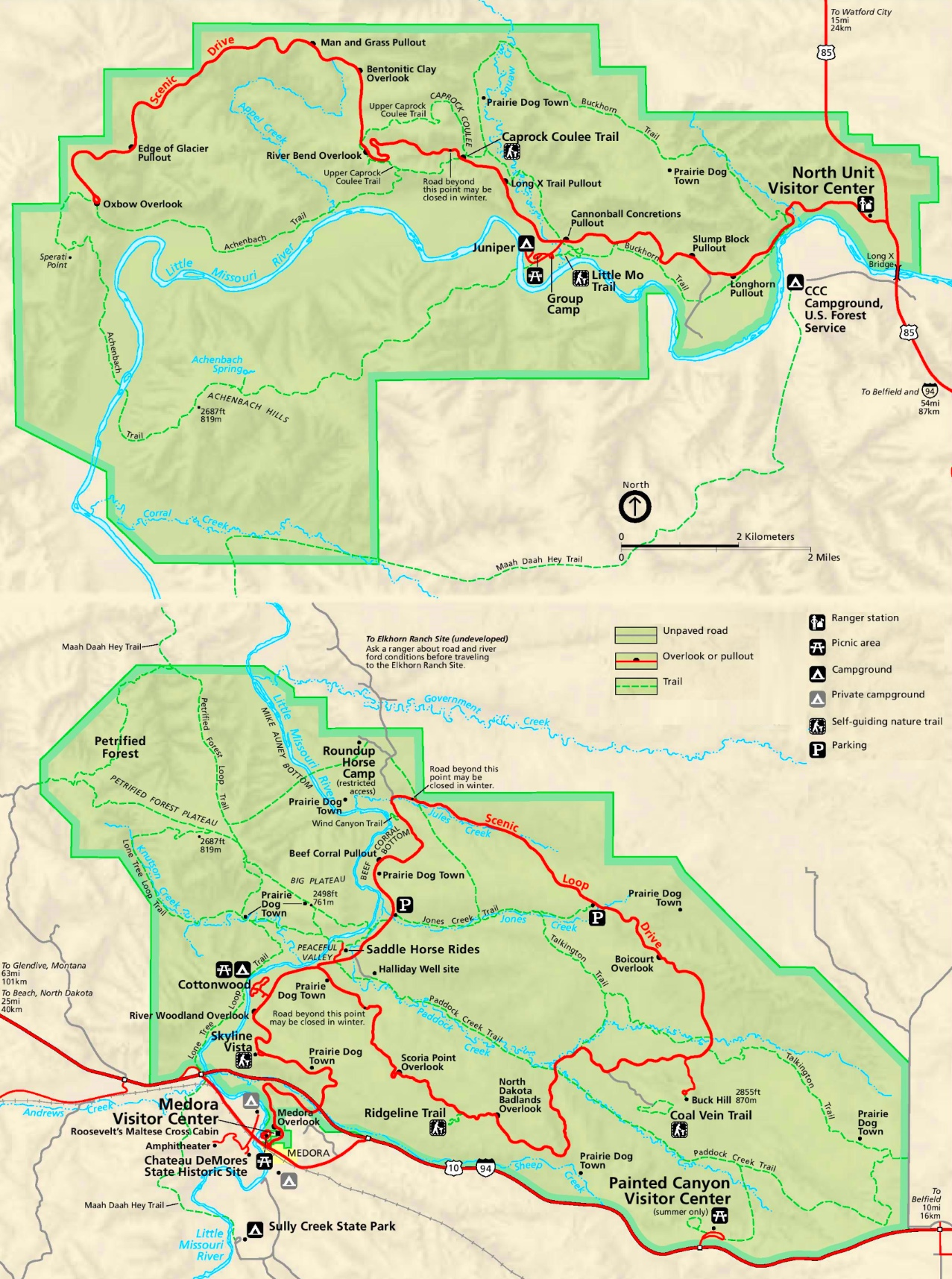 Large detailed map of Theodore Roosevelt National Park