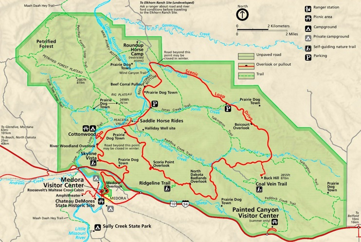 Theodore Roosevelt National Park South Unit tourist map