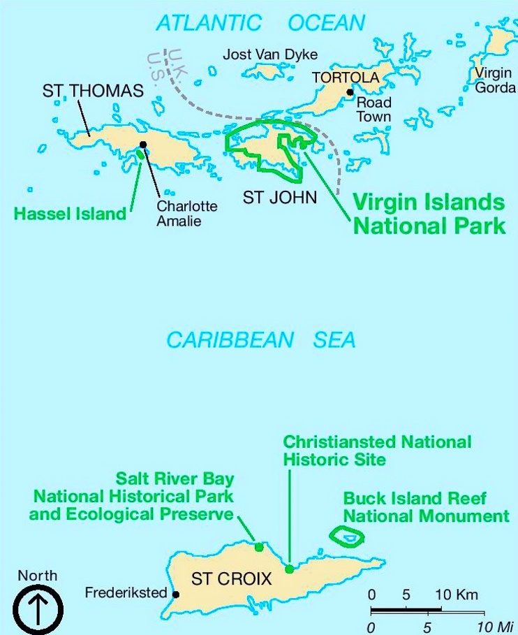 Virgin Islands National Park Area map