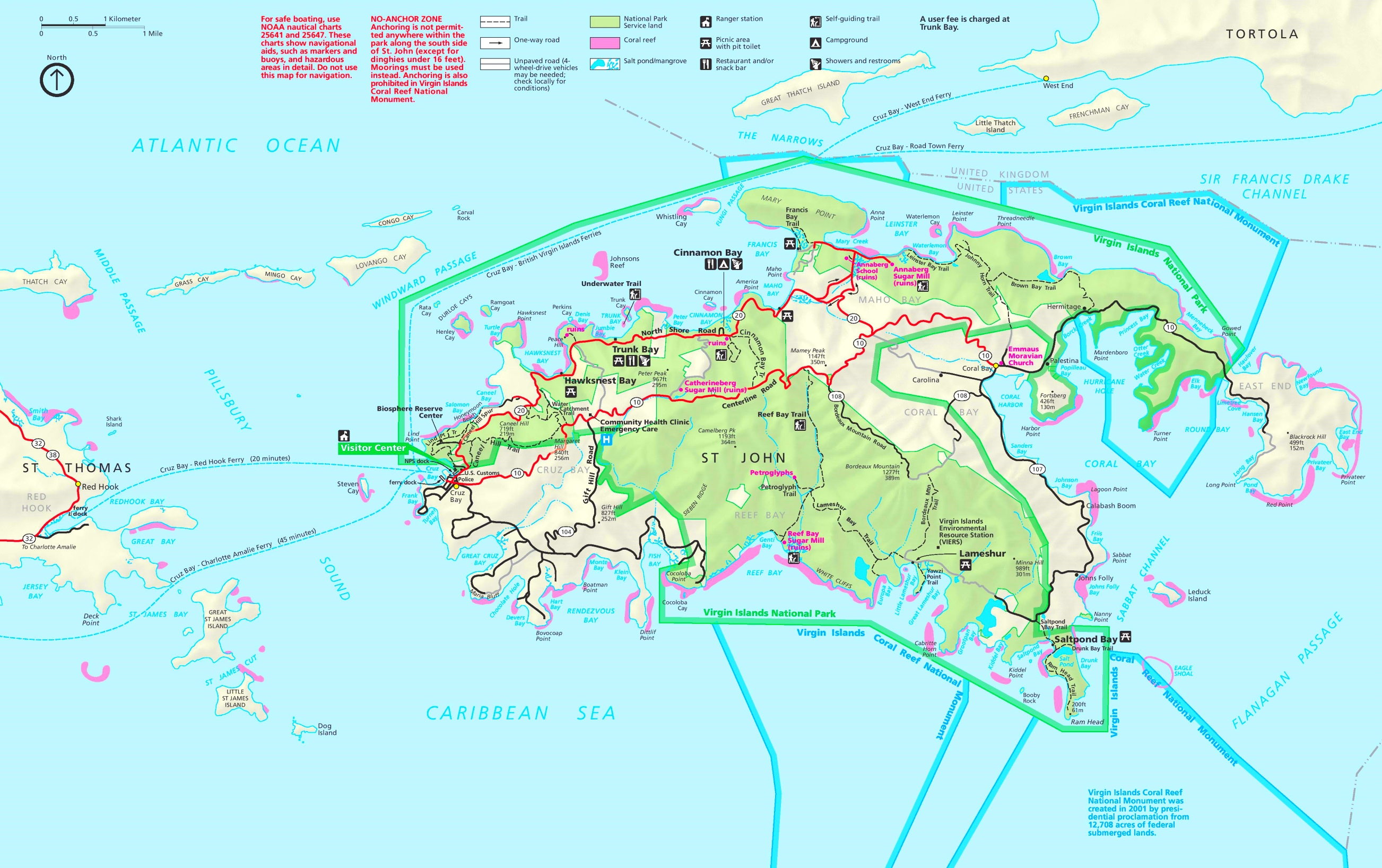 virgin islands national park tourist map. virgin islands national park maps  usa  maps of virgin islands