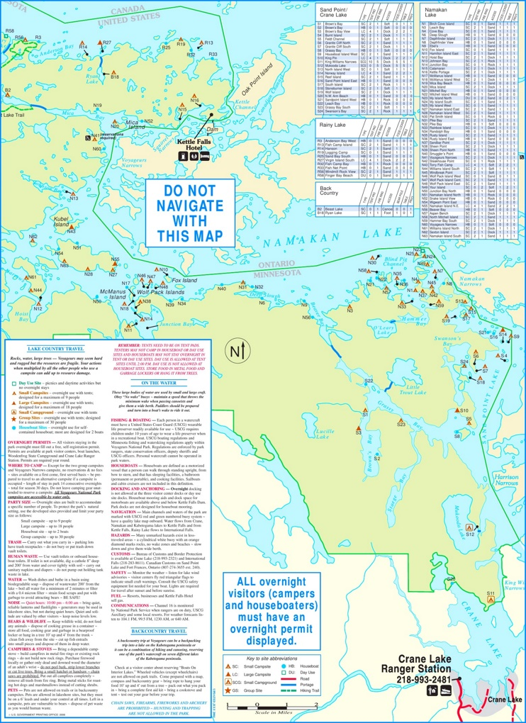 Voyageurs National Park camping and houseboating backside map