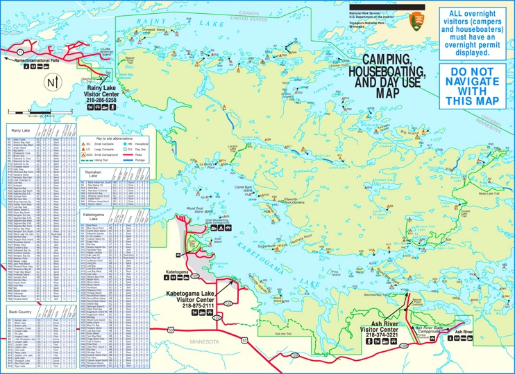 Voyageurs National Park camping and houseboating map