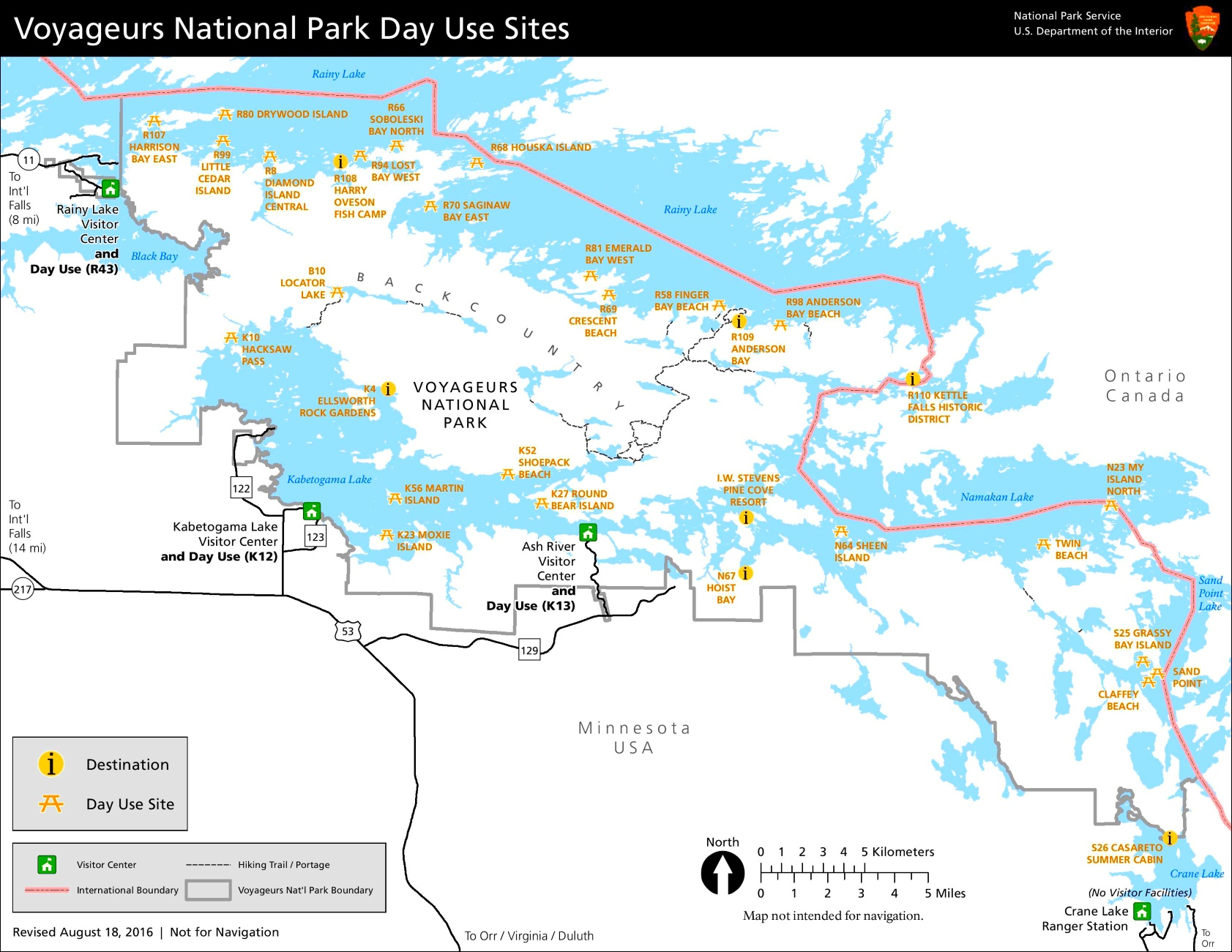 Voyageurs National Park day use sites map