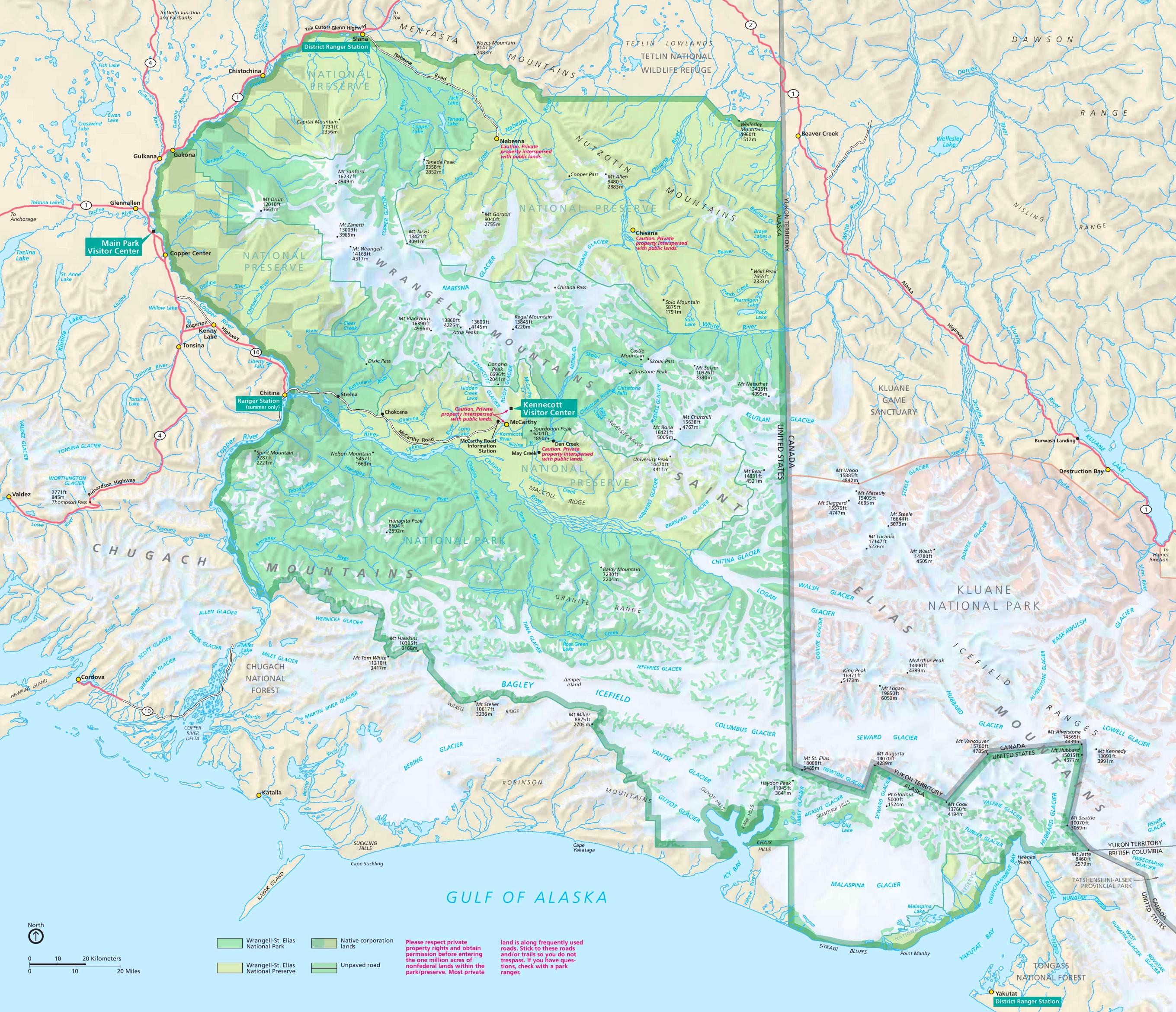 Large detailed tourist map of WrangellSt Elias National Park