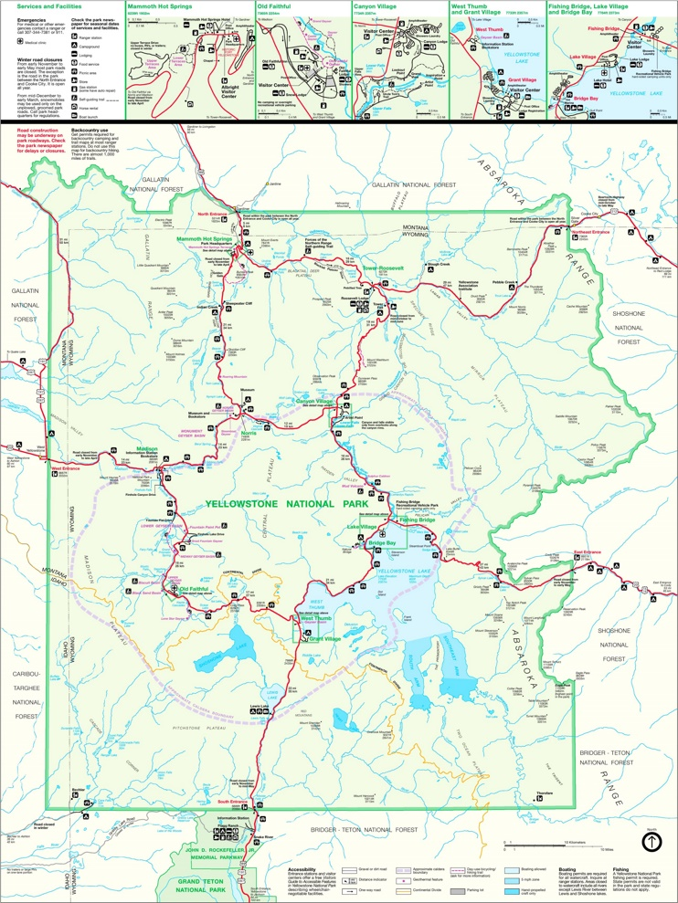 Large detailed map of Yellowstone