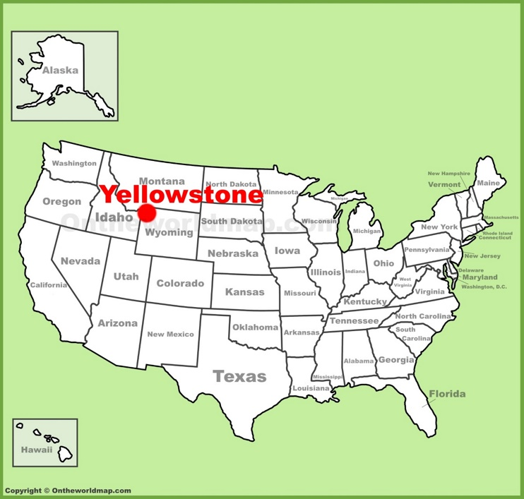 Yellowstone location on the U.S. Map