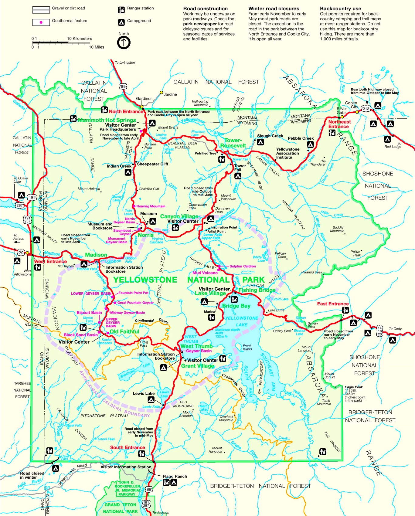 Yellowstone road map