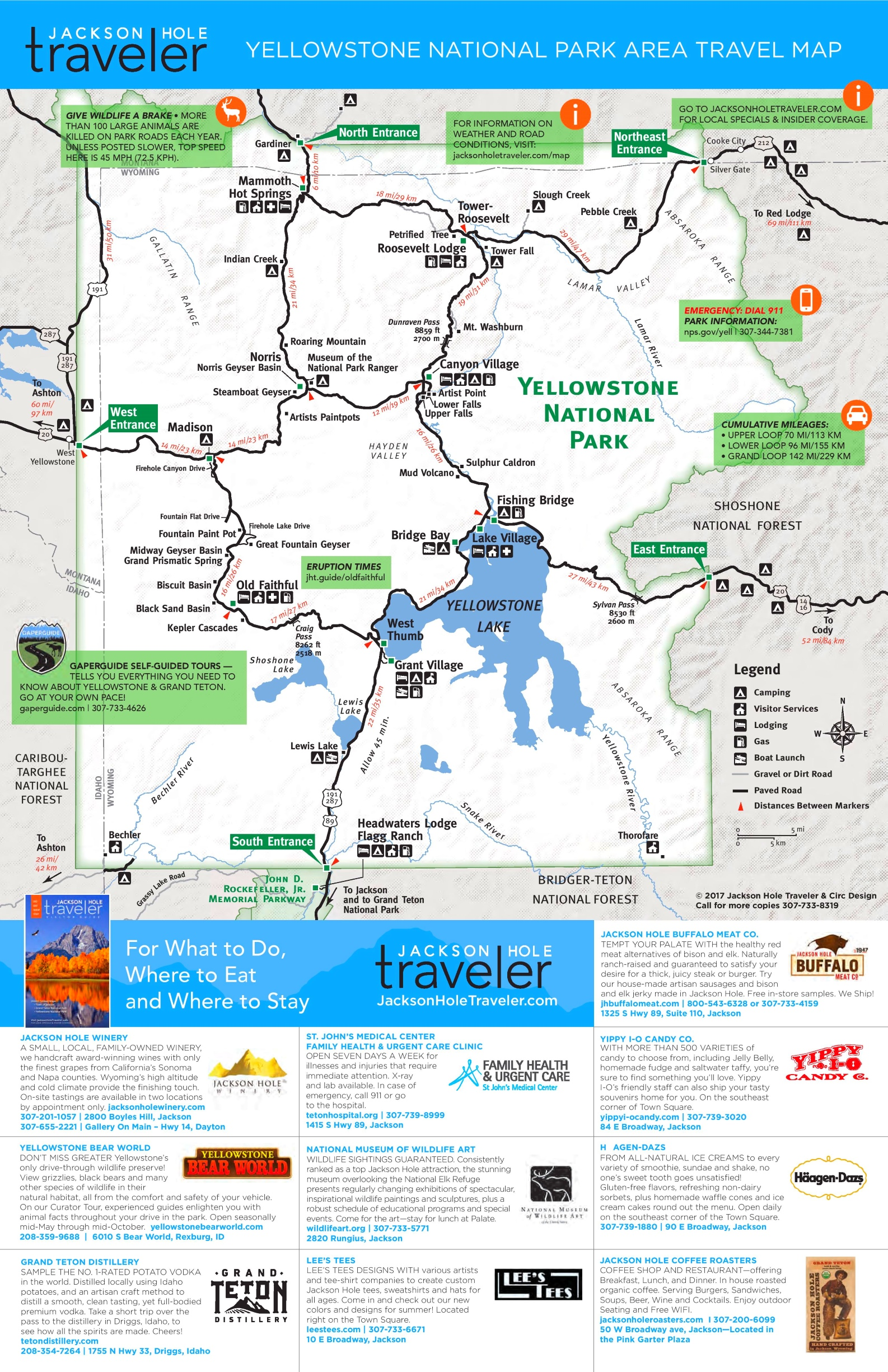 Yellowstone tourist map