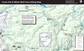 Yosemite Crane Flat and White Wolf area hiking map