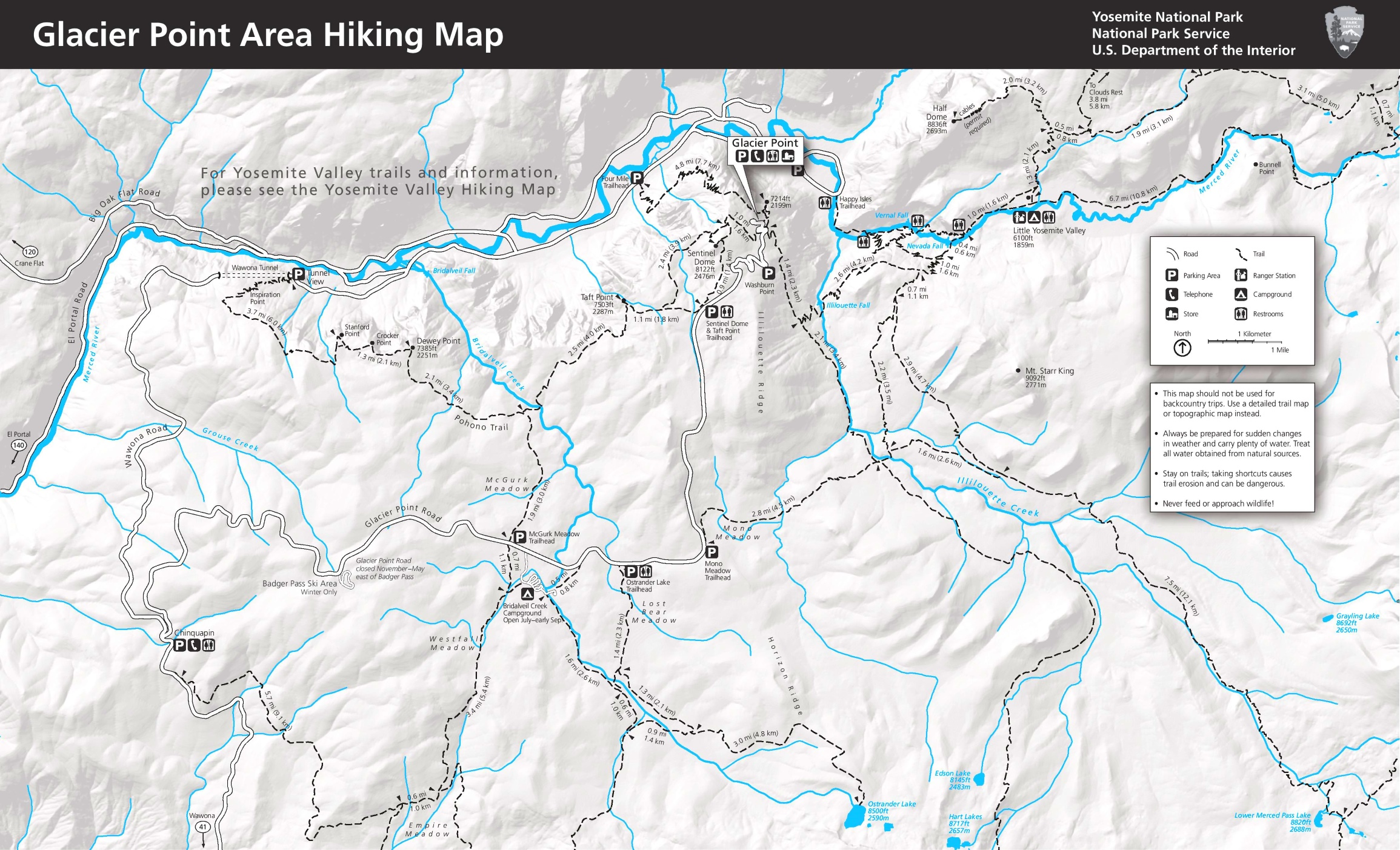 Yosemite Glacier Point area hiking map