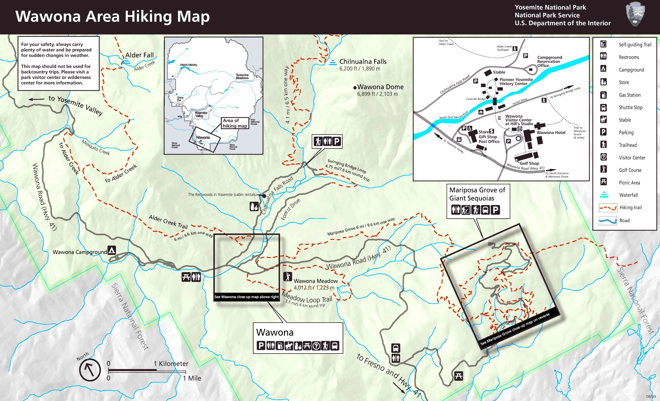 Yosemite Wawona Area hiking map