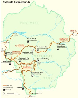 Yosemite campgrounds map