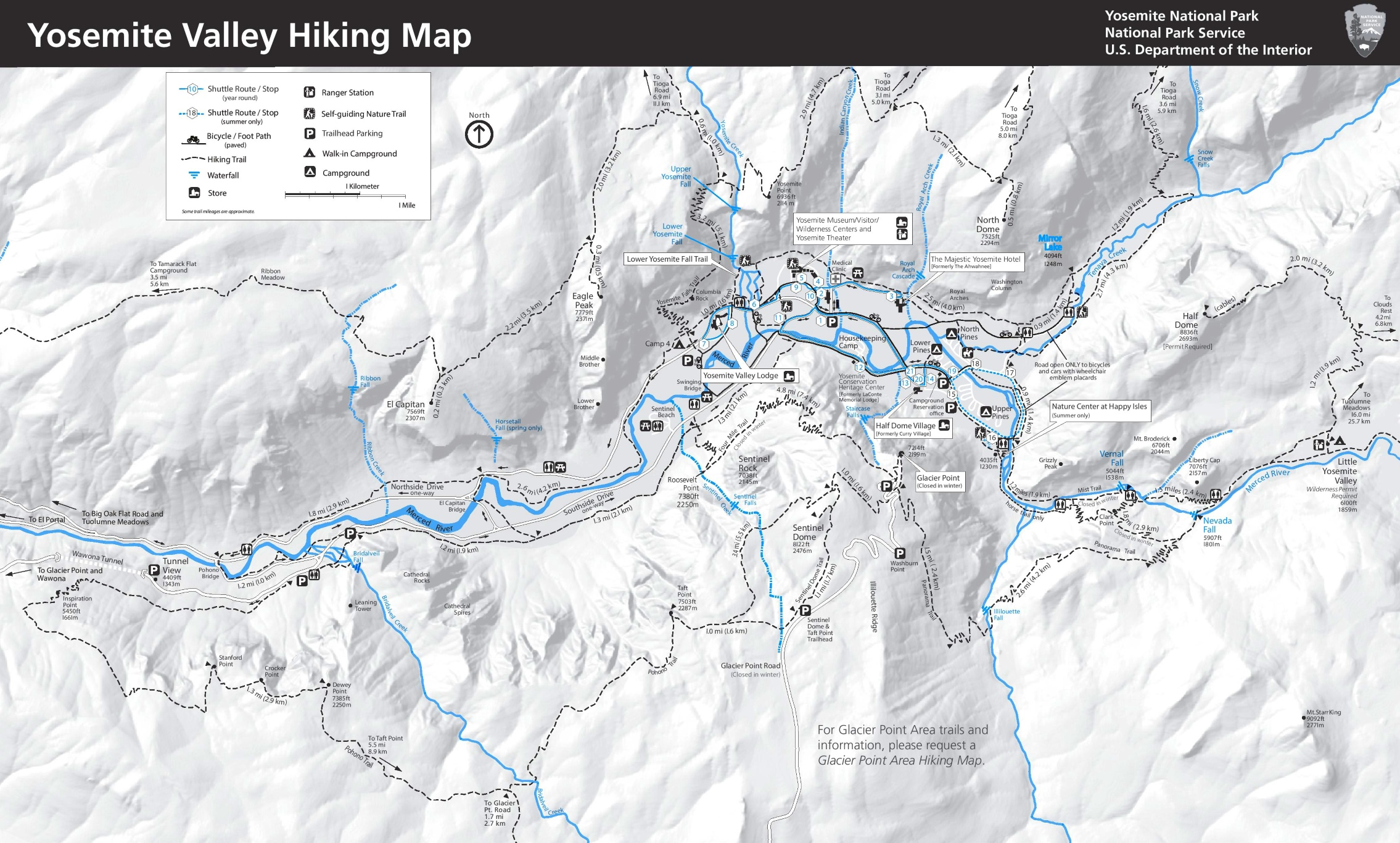 Yosemite Valley hiking map
