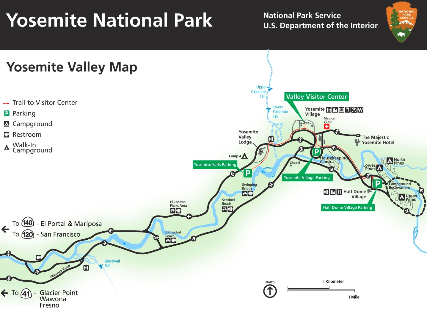 Yosemite Valley tourist map on san diego sights, washington sights, los angeles sights,