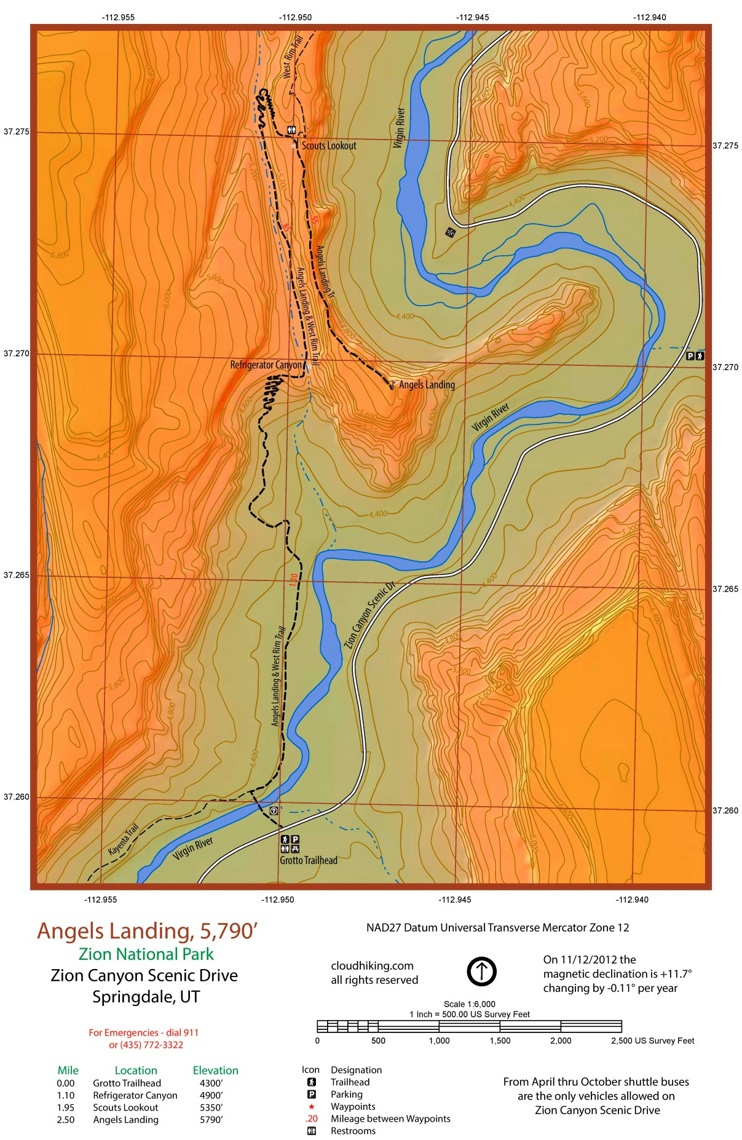 Zion Angels Landing map
