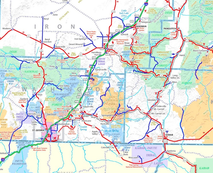 Zion National Park area road map