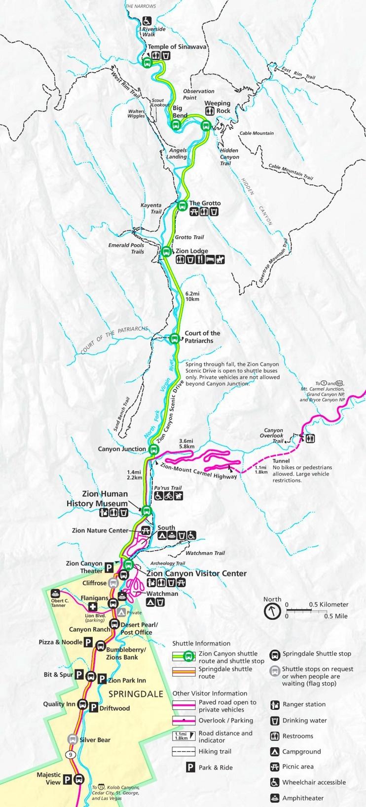 Zion Canyon map