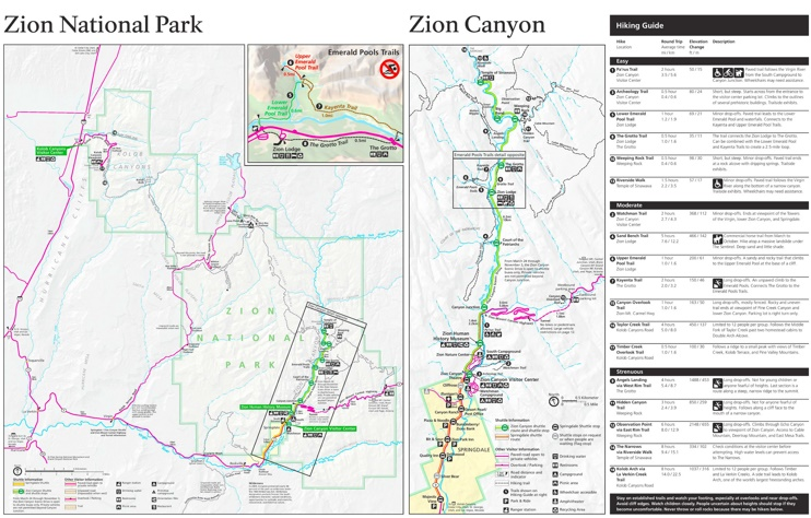 Zion National Park hiking map