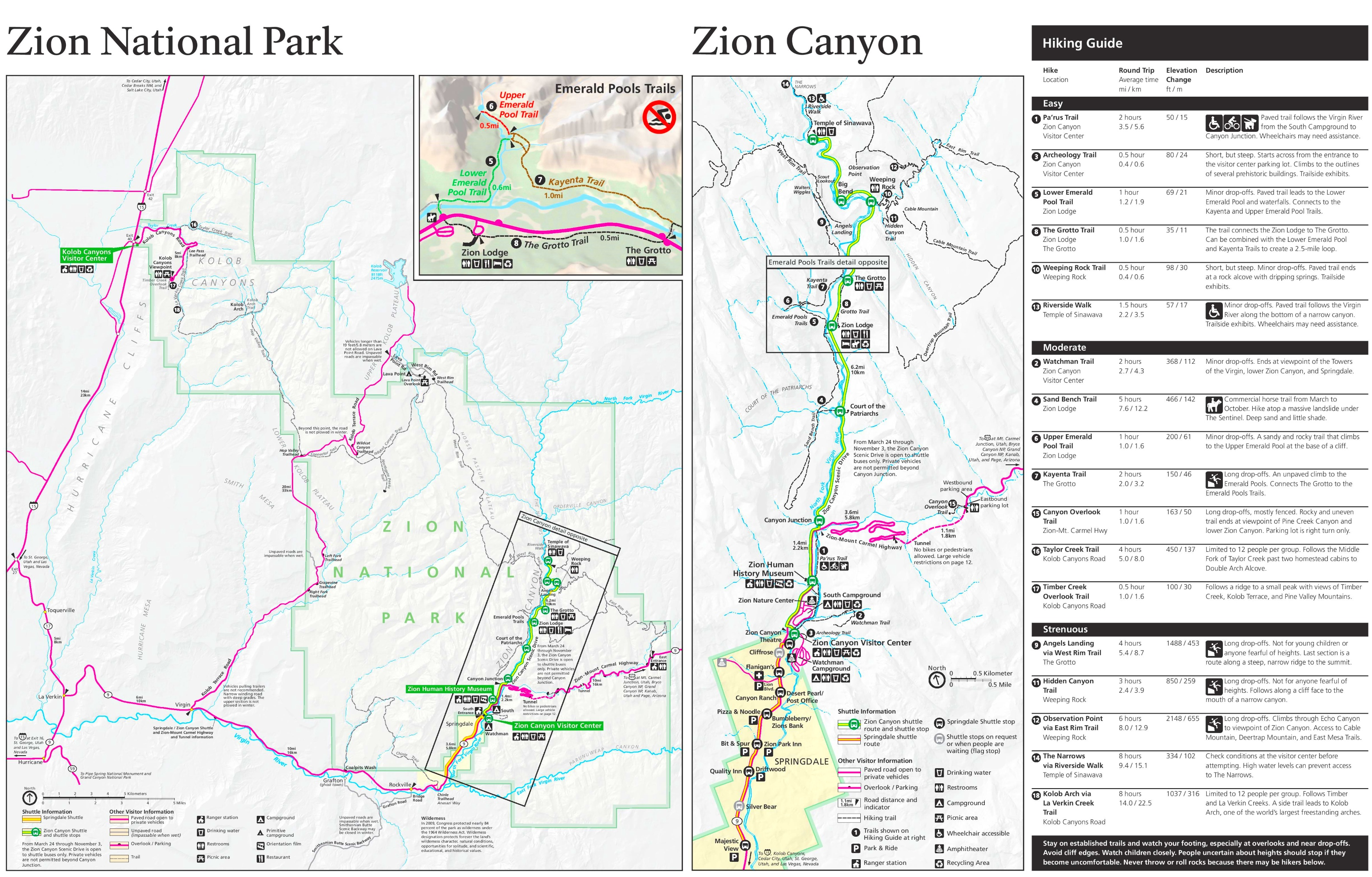 Zion National Park Hiking Map - Map of zion national park