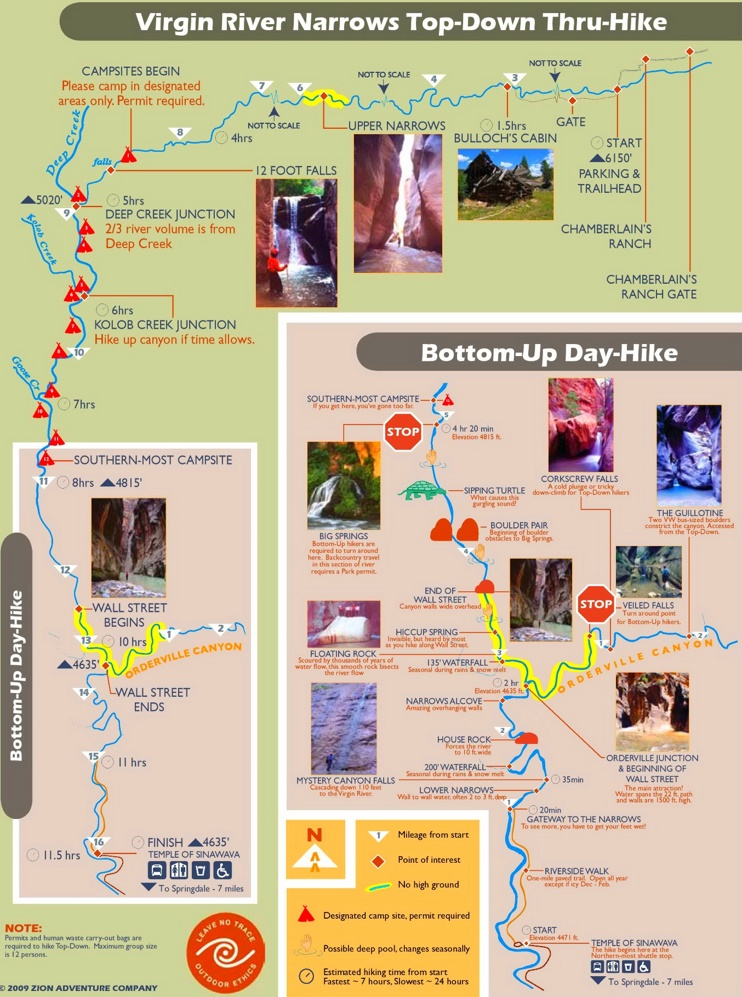 Zion National Park river narrows map