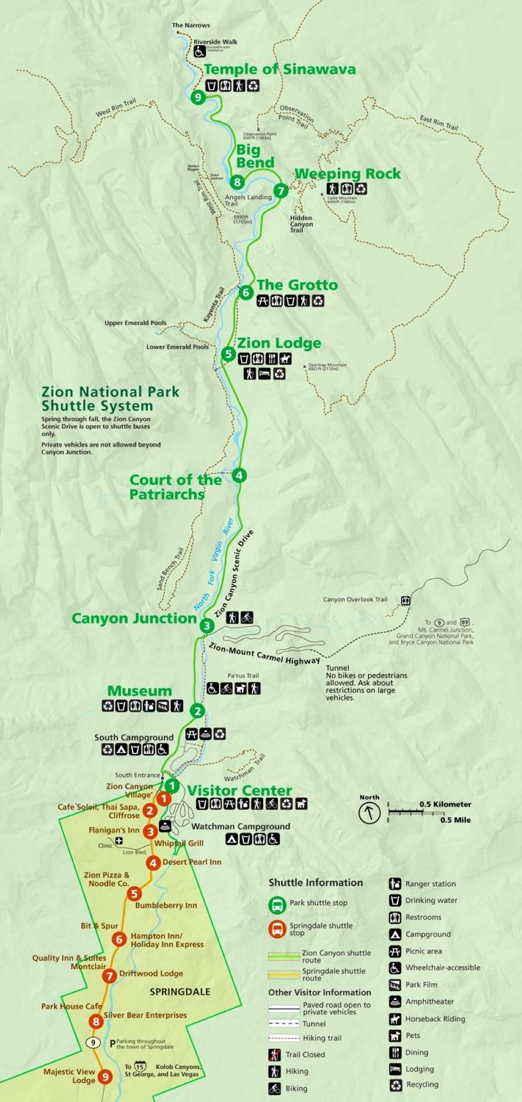 Zion National Park shuttle bus map