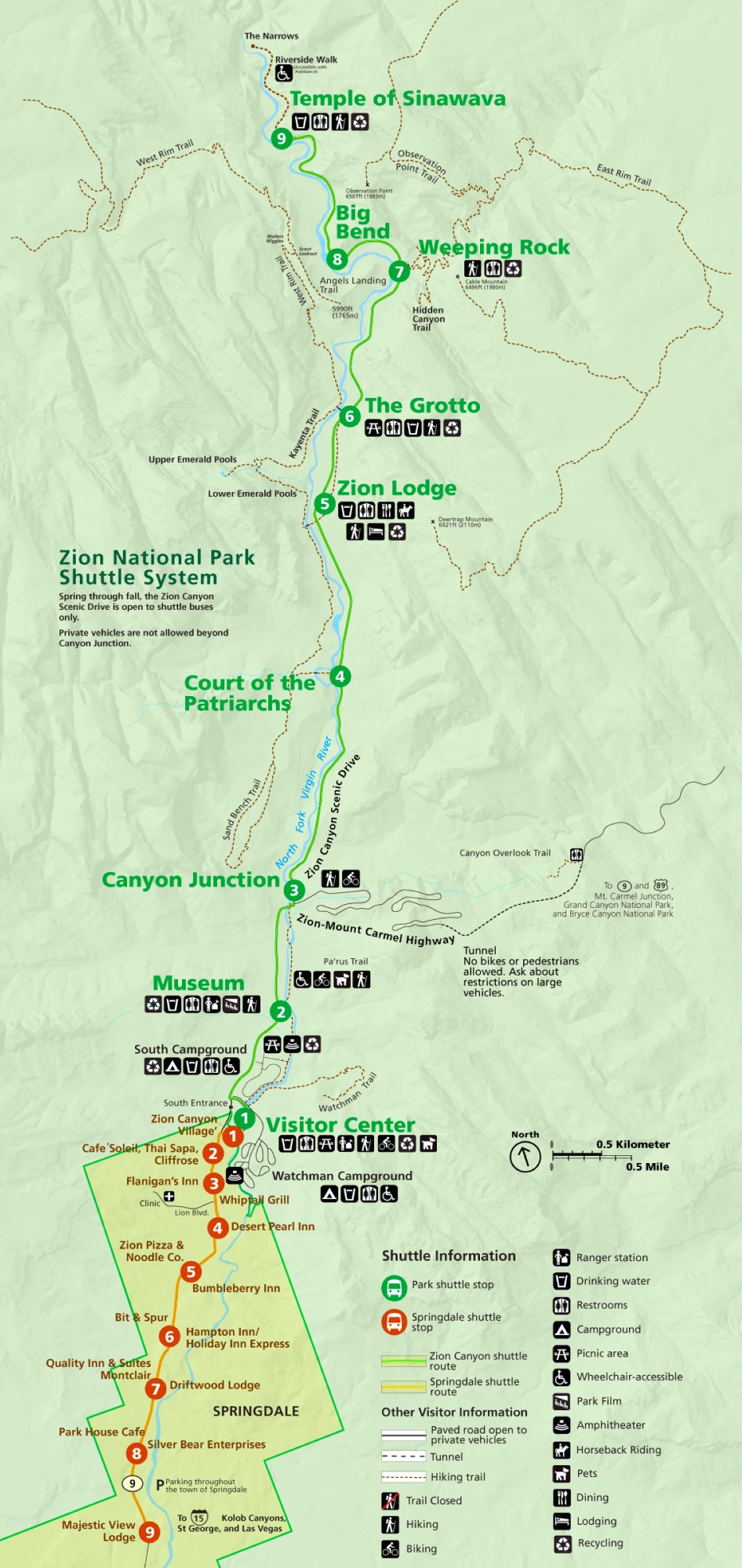 Zion National Park Shuttle Bus Map - Map of zion national park