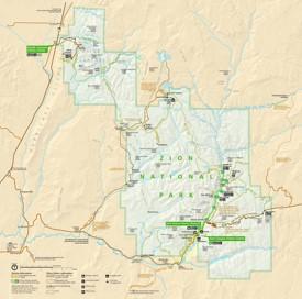 Zion National Park tourist map