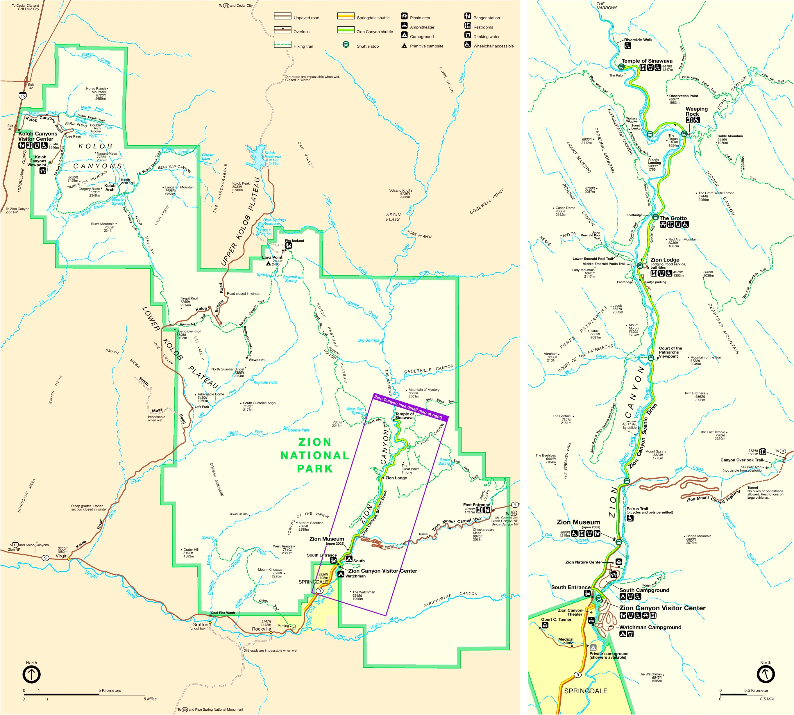 Zion National Park Trail Map - Map of zion national park