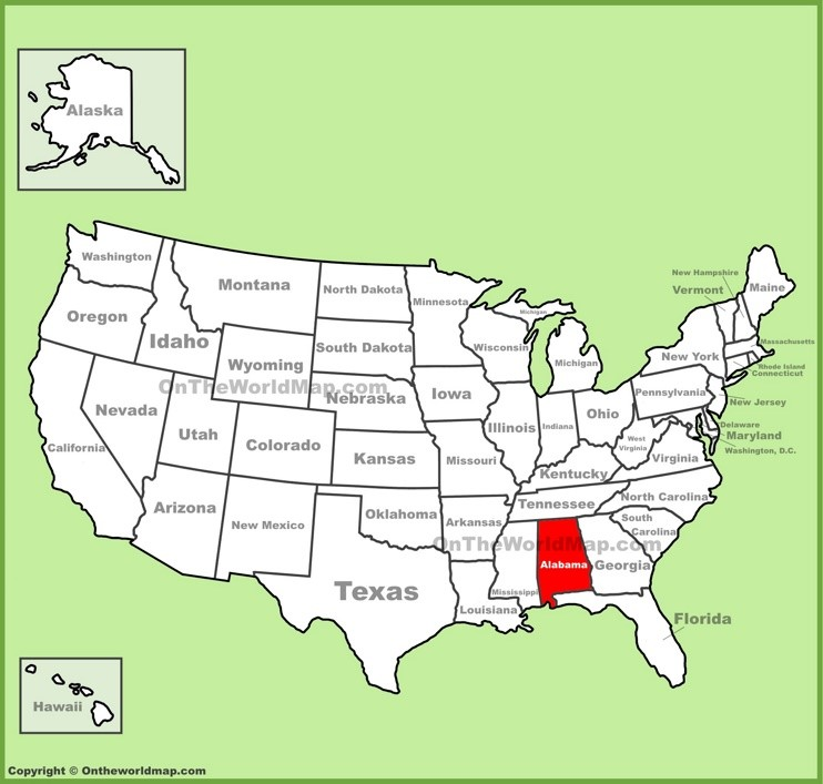 Alabama location on the U.S. Map