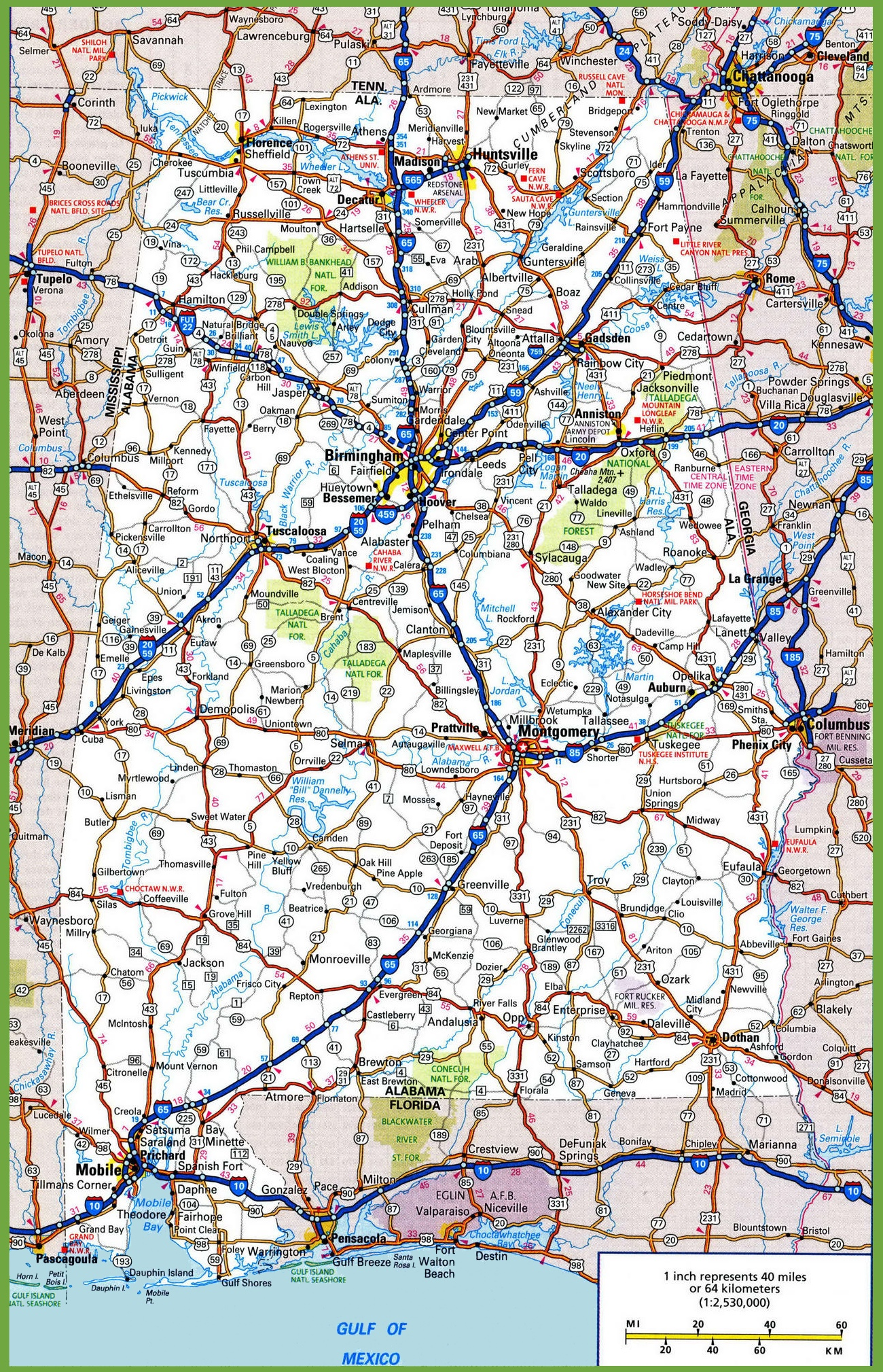 Alabama Road Map - Alabama in usa map