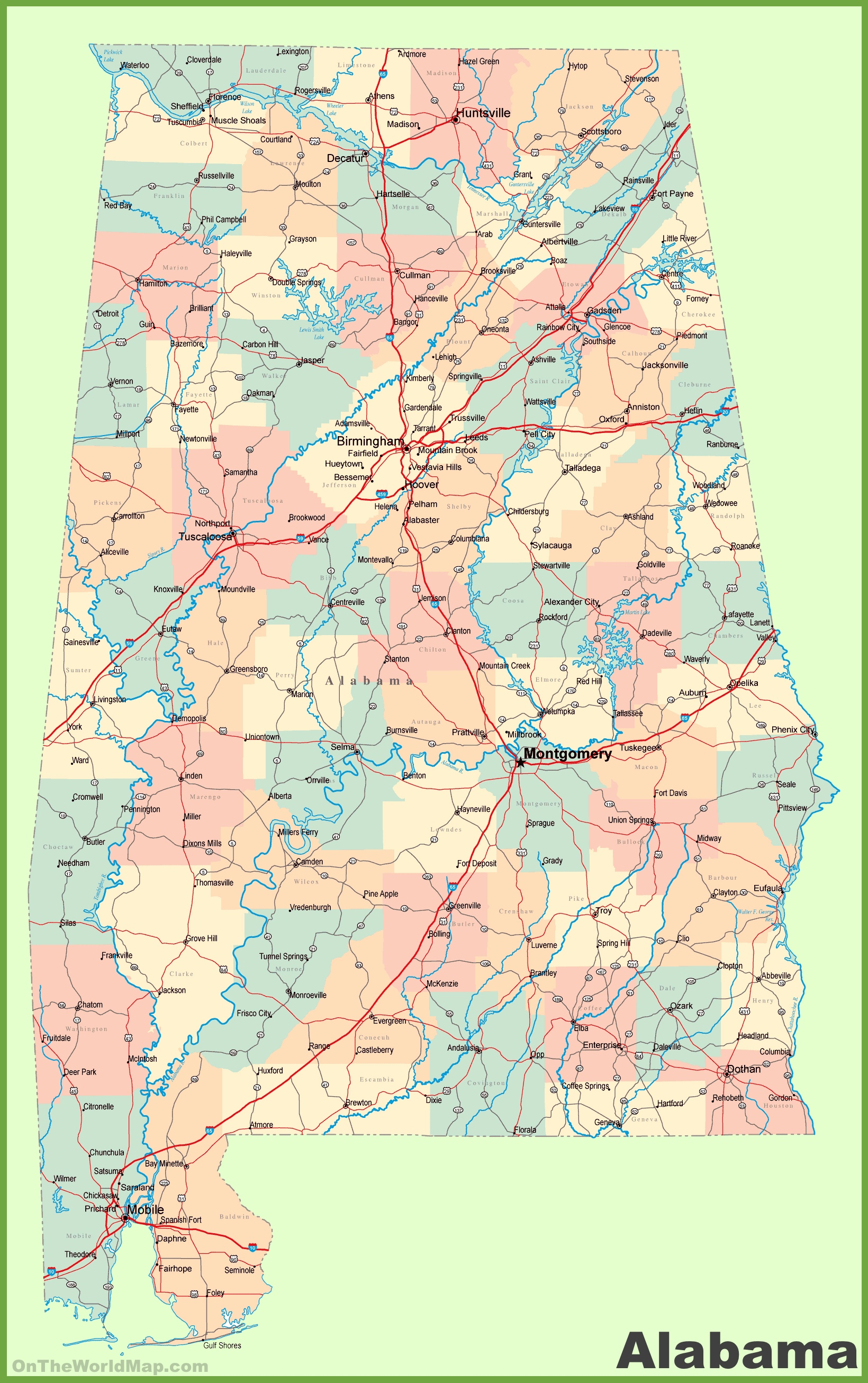 Map Of Alabama With Cities Large detailed map of Alabama