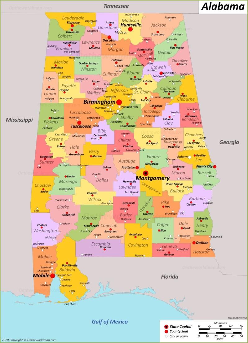 Alabama State Map With Cities Alabama State Maps | USA | Maps of Alabama (AL)